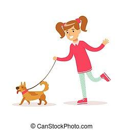 camminare, girly, classico, colorare, carattere, cane, ragazza sorridente, felice, cartone animato, vestiti
