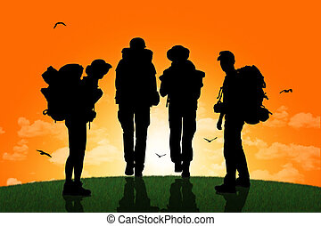 camminare, gruppo, backpackers, cima, tramonto, collina