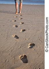 camminare, ingombri, mare sabbia, bagnato, linea, uomo