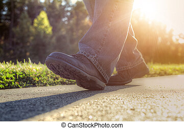 camminare, road., uomo