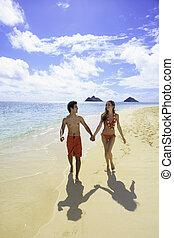 camminare, spiaggia, coppia, hawai