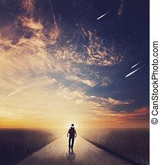 camminare, tramonto, uomo