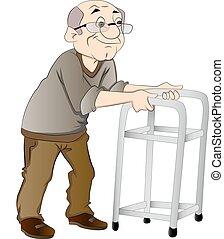 camminatore, uomo, vecchio, illustrazione, usando