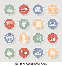 campagna, icone, set., politico, illustrazione, vettore, elezione, rotondo