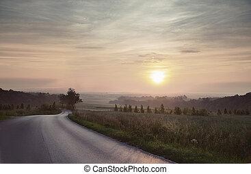 campagna, immagine, grande, tramonto