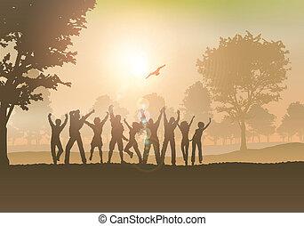 campagna, persone, ballo