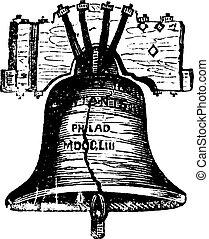 campana, incisione, filadelfia, stati uniti, vendemmia, pennsylvania, libertà