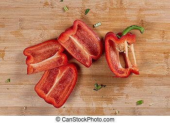 campana, legno, taglio, pepe, fette, asse, rosso