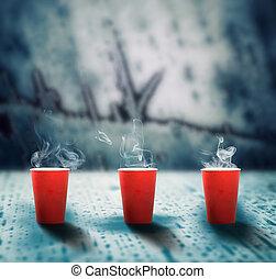 campanelle, caffè, carta, ghiaccio, fusione, rosso