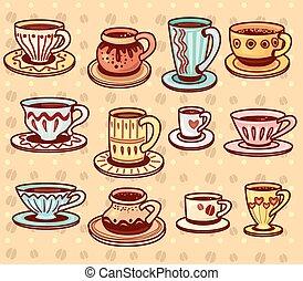 campanelle, caffè tè, set