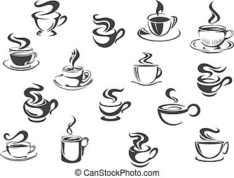 campanelle, caffè, vettore, set, icone
