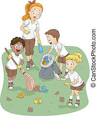 campeggiare, pulizia