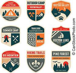 campeggiare, retro, tesserati magnetici