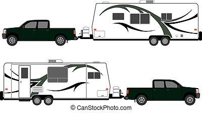 campeggiare, roulotte, pickup