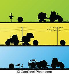 campi, illustrazione, trattori, balle fieno, vettore, fondo, coltivato, fabbricazione, paese, agricoltura, paesaggio