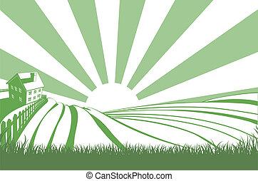 campi, sopra, sole, collina