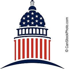 campidoglio, vettore, disegno, americano, logo., grafico