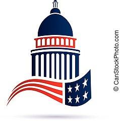 campidoglio, vettore, flag., disegno, logotipo, americano, costruzione