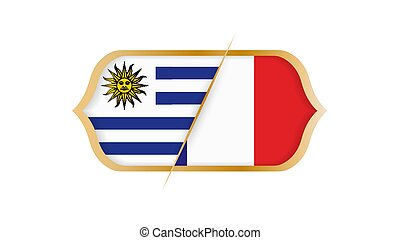 campionato, illustration., uruguay, vs, france., vettore, mondo, calcio