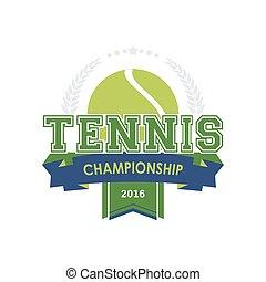 campionato, tennis, emblema, vector.