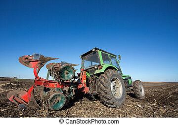 campo, aratura, trattore, apparecchiatura