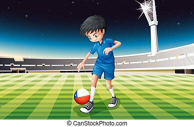 campo, bandiera, calcio, cile, giocatore