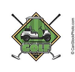 campo, carrello, icona, verde, club, club, attraversato, golf