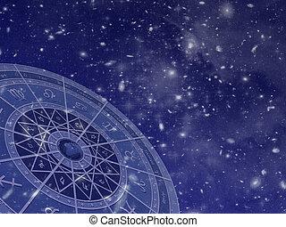 campo, cerchio, zodiaco, stella
