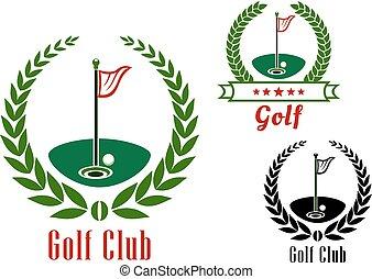 campo, club, palla, badg, golf