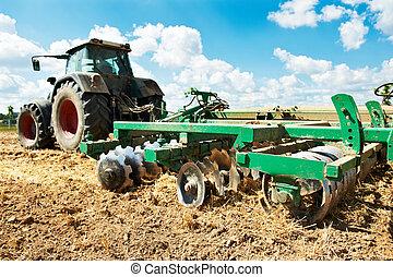campo, coltivazione, lavoro, trattore, aratura