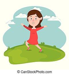 campo, correndo, ragazza, felice