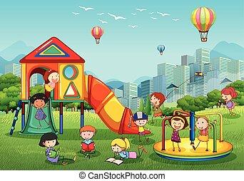 campo di gioco, parco città, gioco, bambini