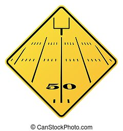 campo, football americano, segno strada
