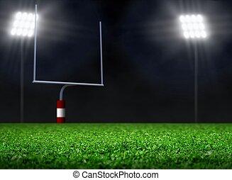 campo, football, riflettore, vuoto