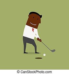 campo, gioco golf, verde, uomo affari