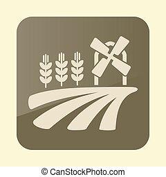 campo, icona, frumento, orecchie, mulino vento