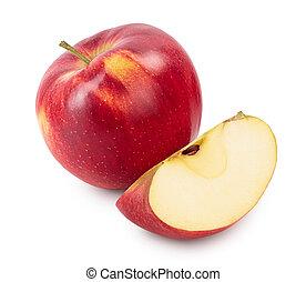 campo, isolato, mela, bianco rosso, fondo, profondità, fetta, percorso, pieno, ritaglio