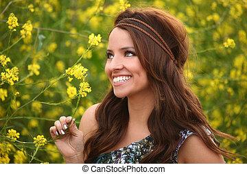 campo, ragazza, fiore, carino