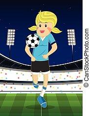 campo, ragazza, football, gioco, illustrazione