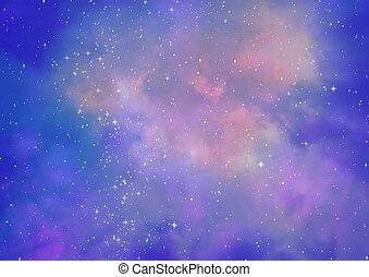 campo, stella, nebulae, spazio