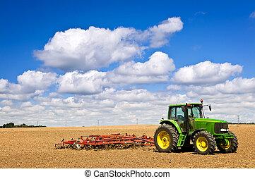 campo, trattore, arato