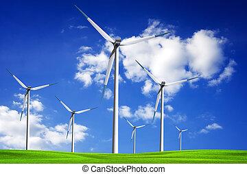 campo, turbina, vento, primavera