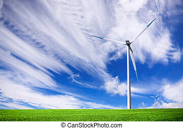 campo, turbina, verde