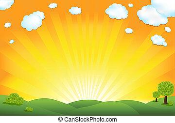 campo, verde, alba, cielo