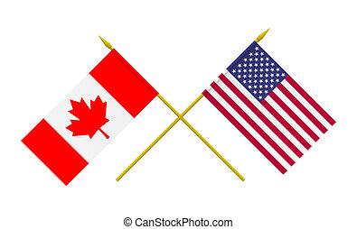 canada, bandiere, stati uniti