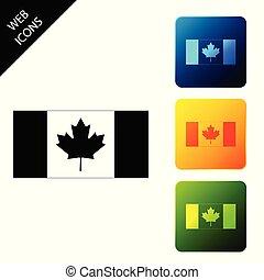 canada, buttons., colorito, icone, isolated., vettore, bandiera, squadra triangolo, illustrazione, icona