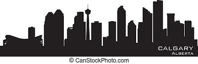 canada, calgary, dettagliato, silhouette, skyline.