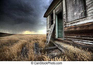 canada, fattoria, abbandonato, saskatchewan