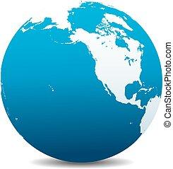 canada, globo, nord, mondo, america