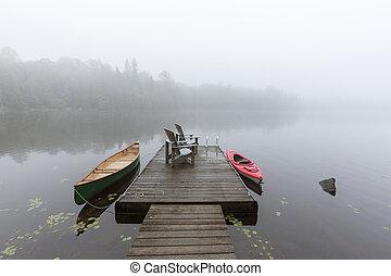 canada, nebbioso, canoa, ontario, -, lago, legato, kayak, bacino